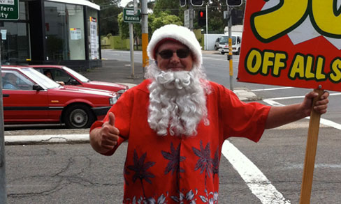 Santa on the Street Corner
